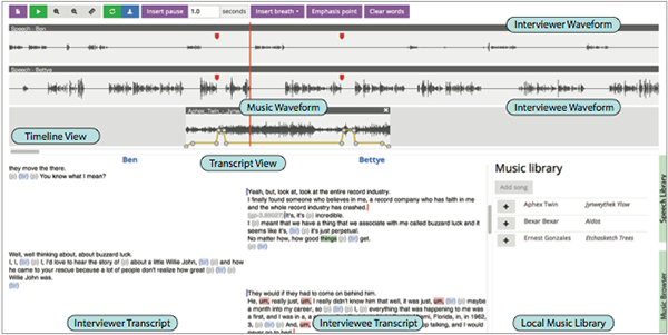 Our editing interface features two views of each speech track: a traditional waveform view, and a text-based transcript view.